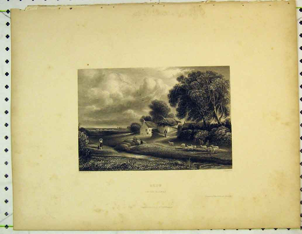 Print Country View Brow Solway Trees Sheep Man House Clouds 407B362 Old Original