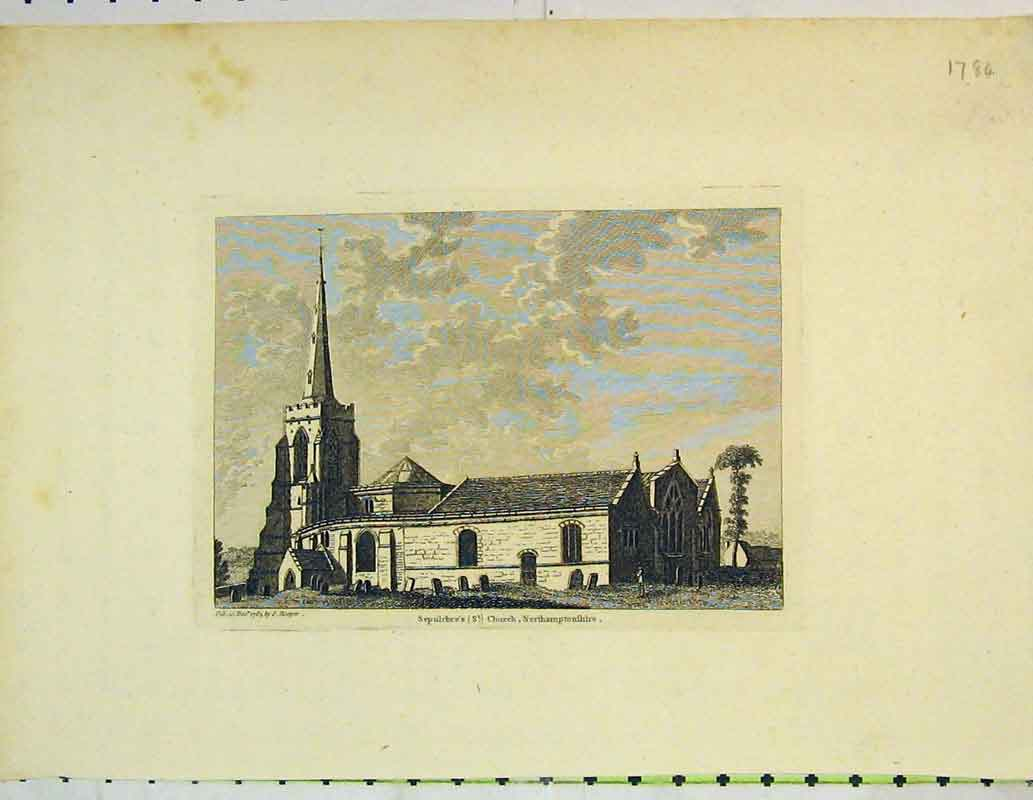Print Exterior Sepulchre'S Church Northamptonshire Hooper 414B362 Old Original