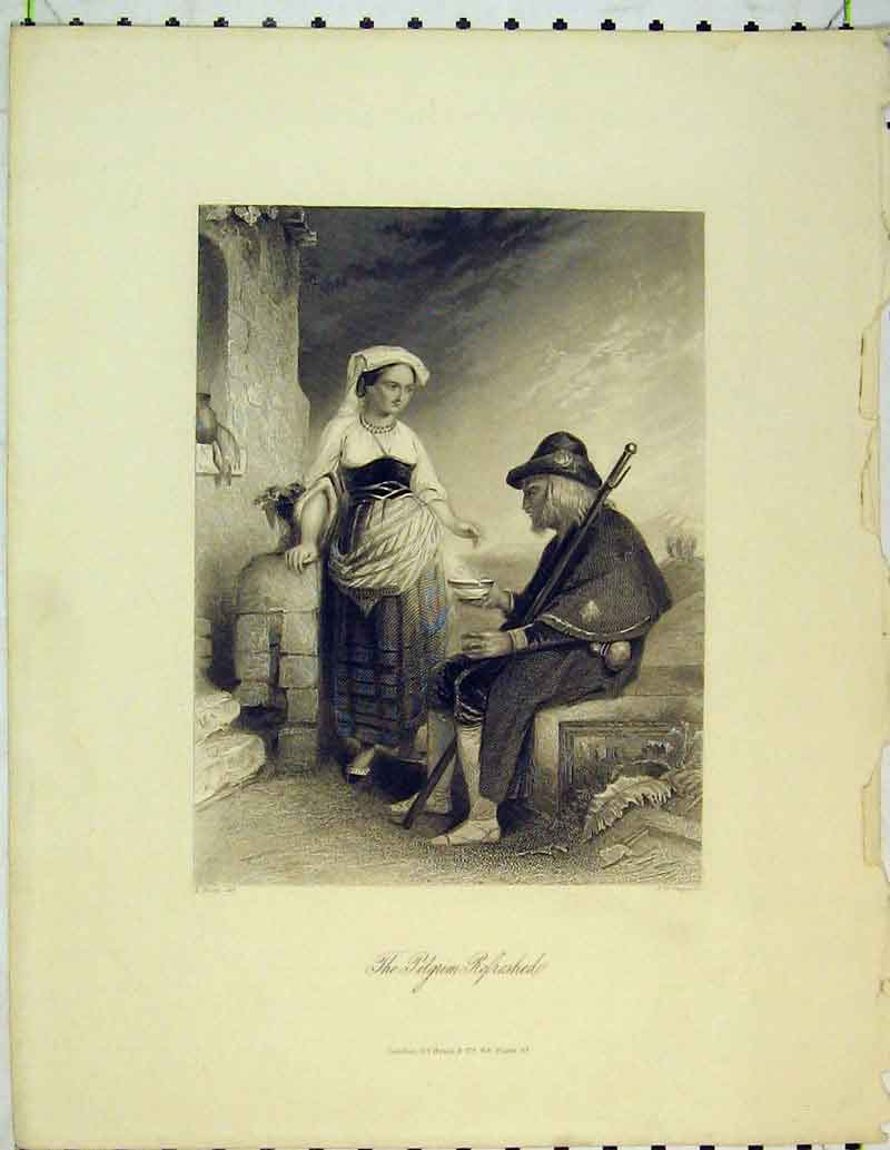 Print Pilgrim Woman Man Feeding Resting Travel 431B362 Old Original
