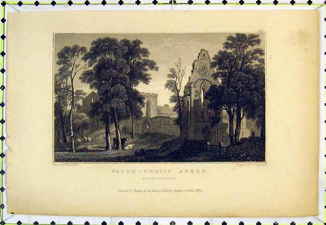 Print View Ruins Valle Crucis Abbey Denbighshire Radclyffe 301B363 Old Original