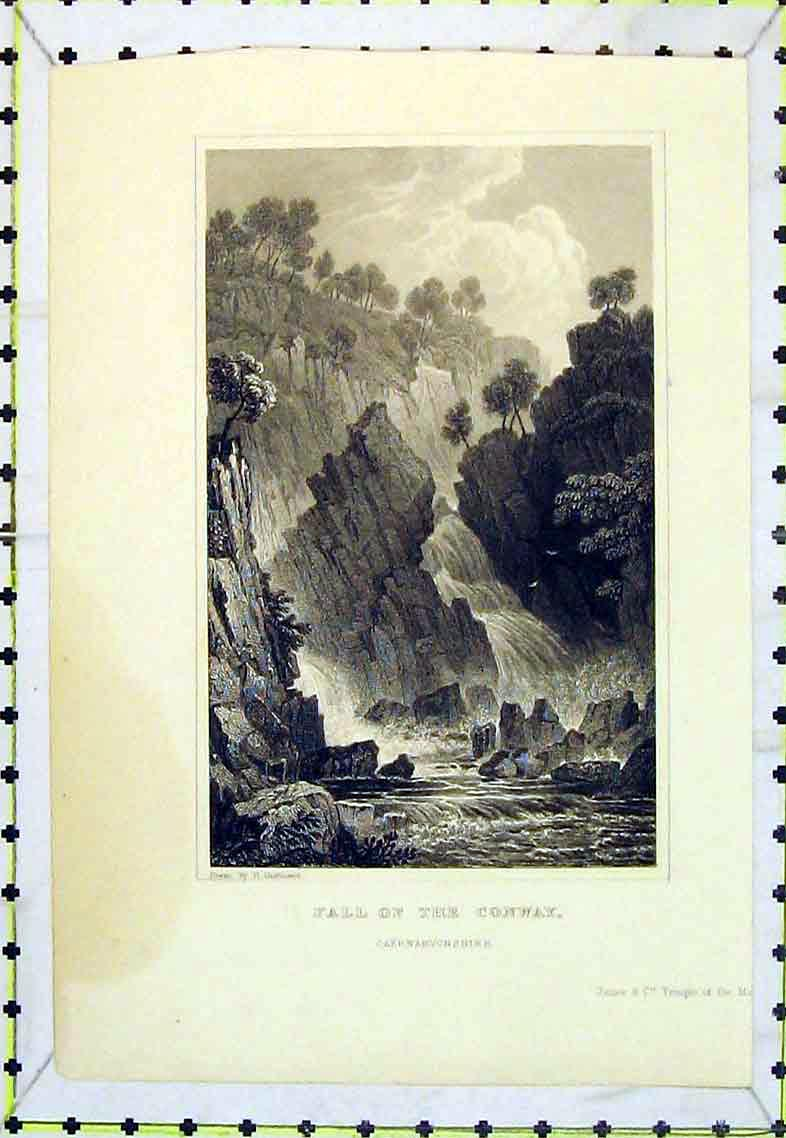 Print View Water Fall River Conway Caernarvonshire Cliffs 307B363 Old Original