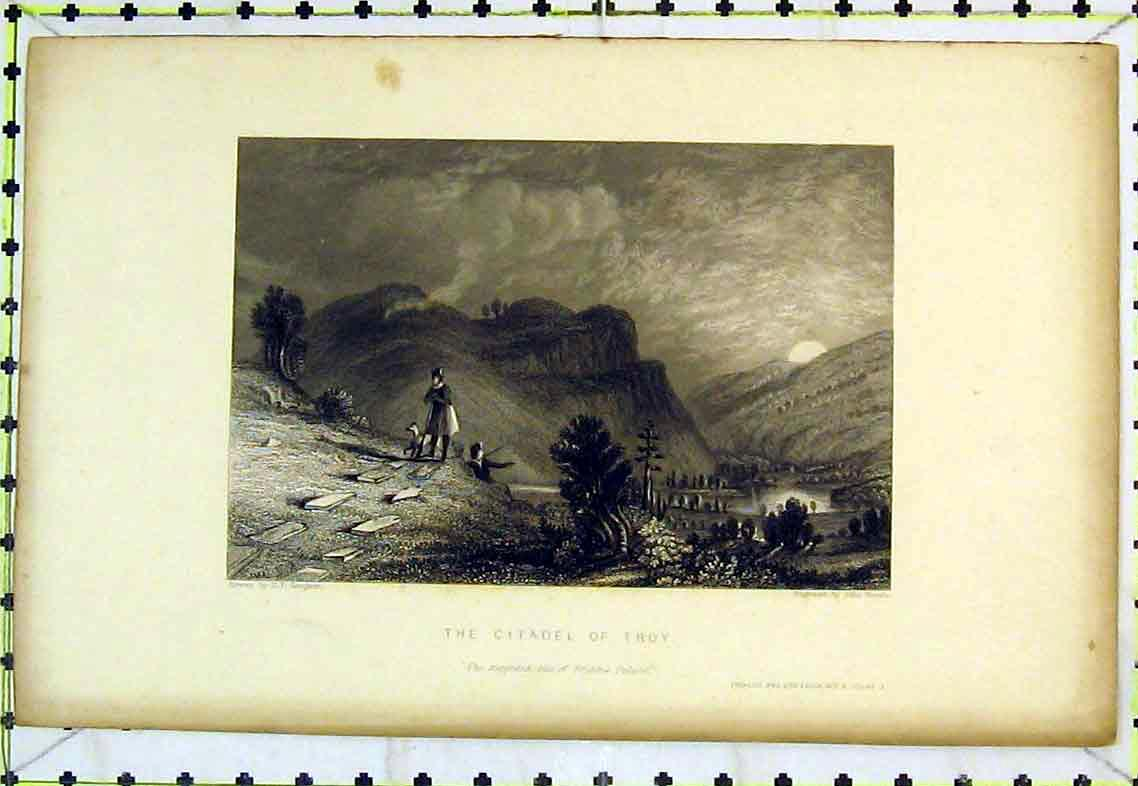 Print View Citadel Troy Priam'S Palace Mountains River Trees 311B363 Old Original