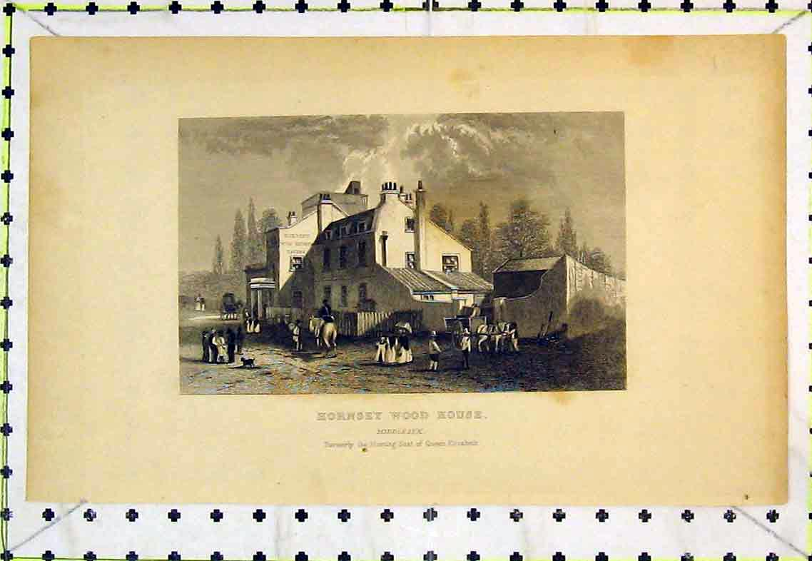 Print Exterior Hornsey Wood House Middlesex Queen Elizabeth 315B363 Old Original