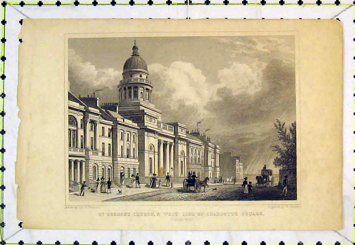 Print St Georges Church West Charlotte Square Edinburgh 318B363 Old Original