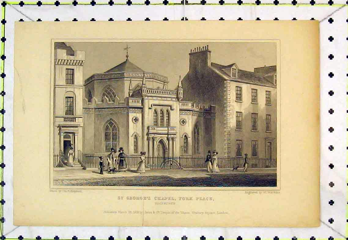 Print St Georges Chapel York Place Edinburgh Scotland Dog 319B363 Old Original