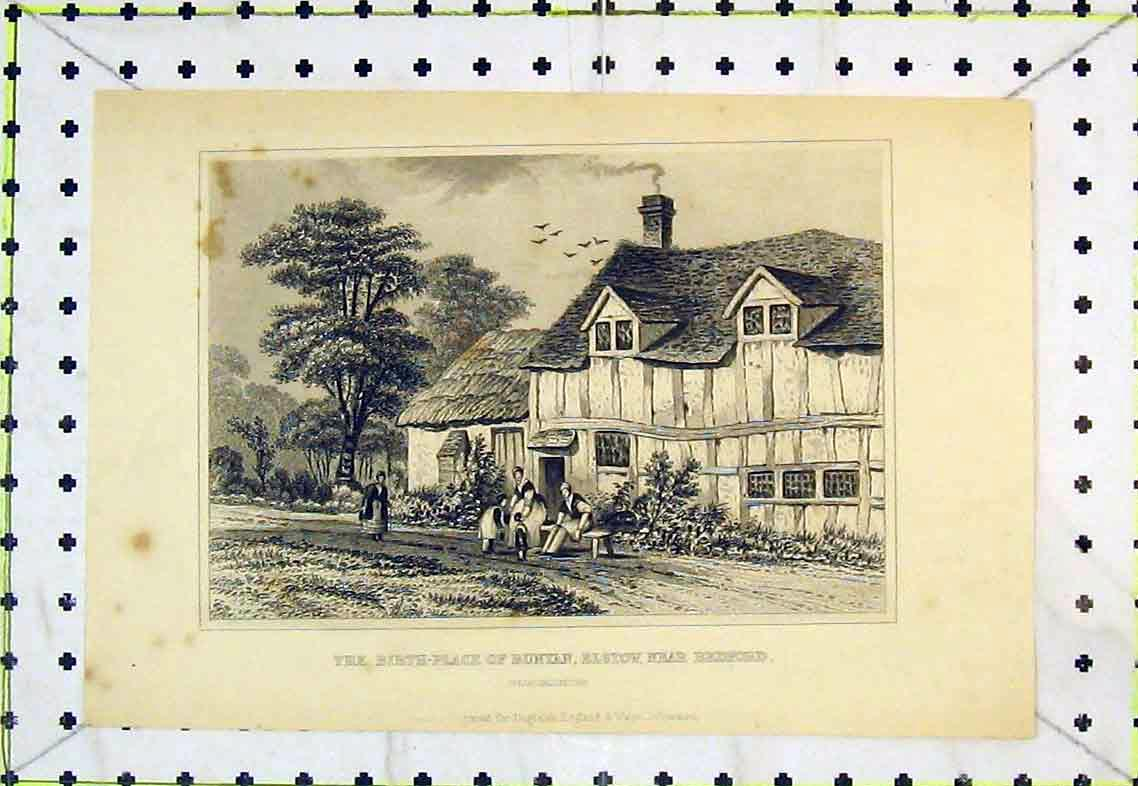 Print Birth-Place Bunyan Elstow Bedfordshire Exterior View 325B363 Old Original