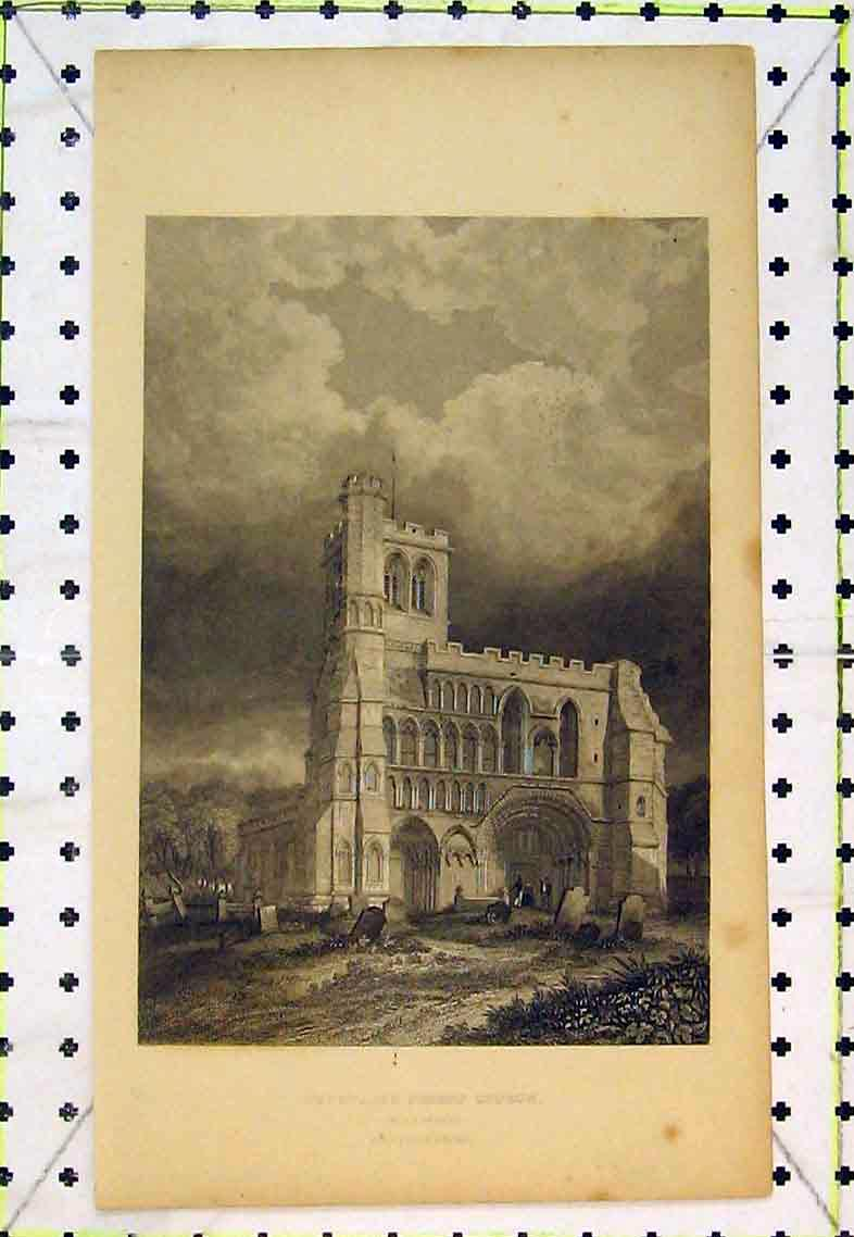Print Dunstable Priory Church Bedfordshire Exterior View 326B363 Old Original