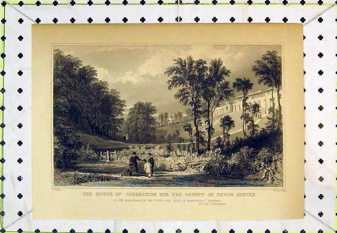 Print House Correction County Devon Exeter Country Trees 333B363 Old Original