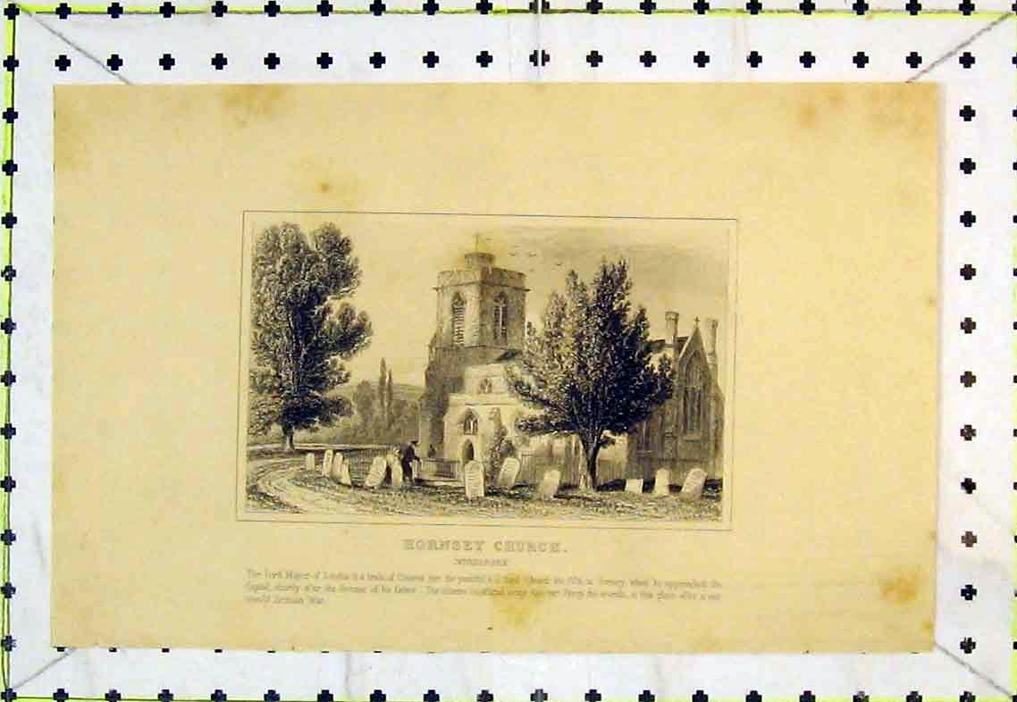 Print Exterior View Hornsey Church Middlesex England Grave 337B363 Old Original