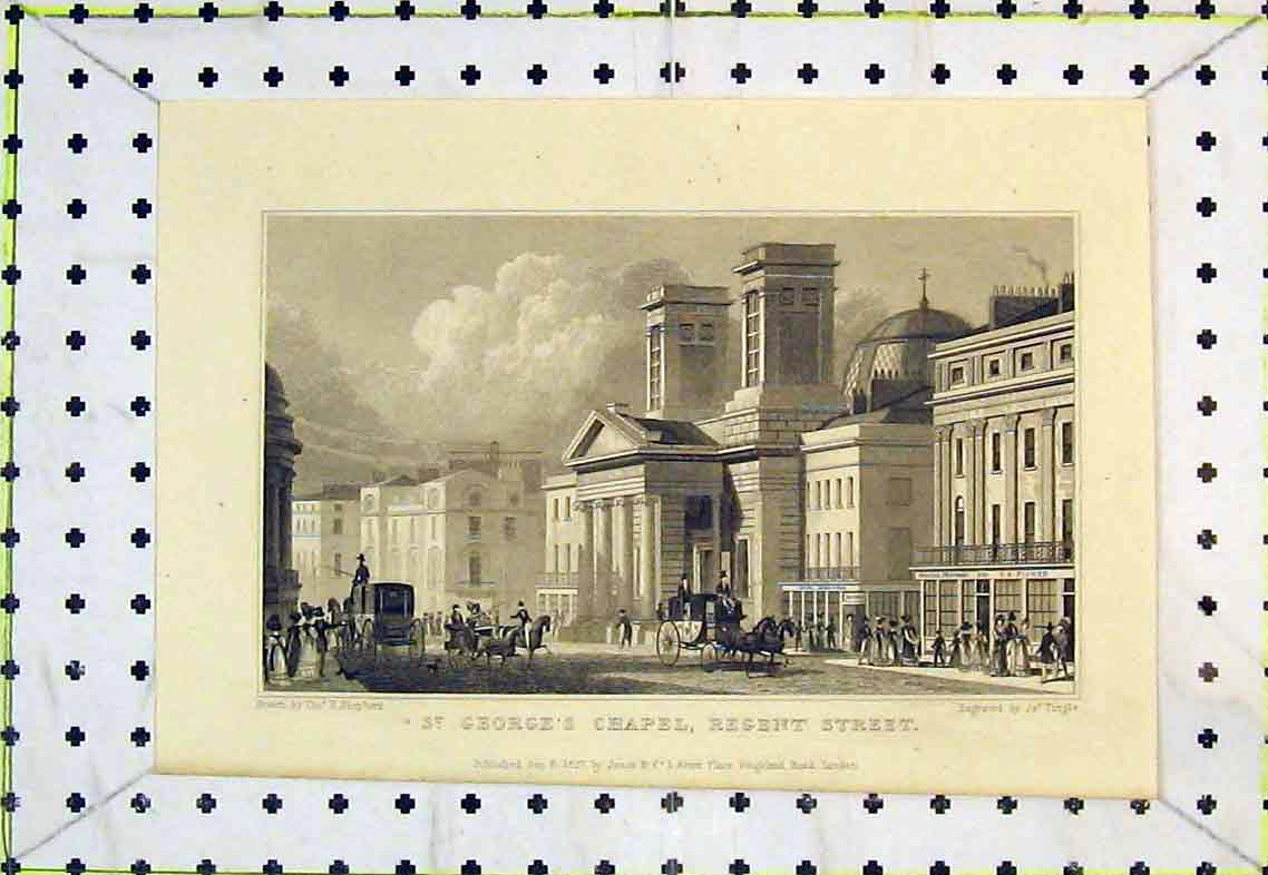 Print View St Georges Chapel Regent Street London Horse Coach 343B363 Old Original