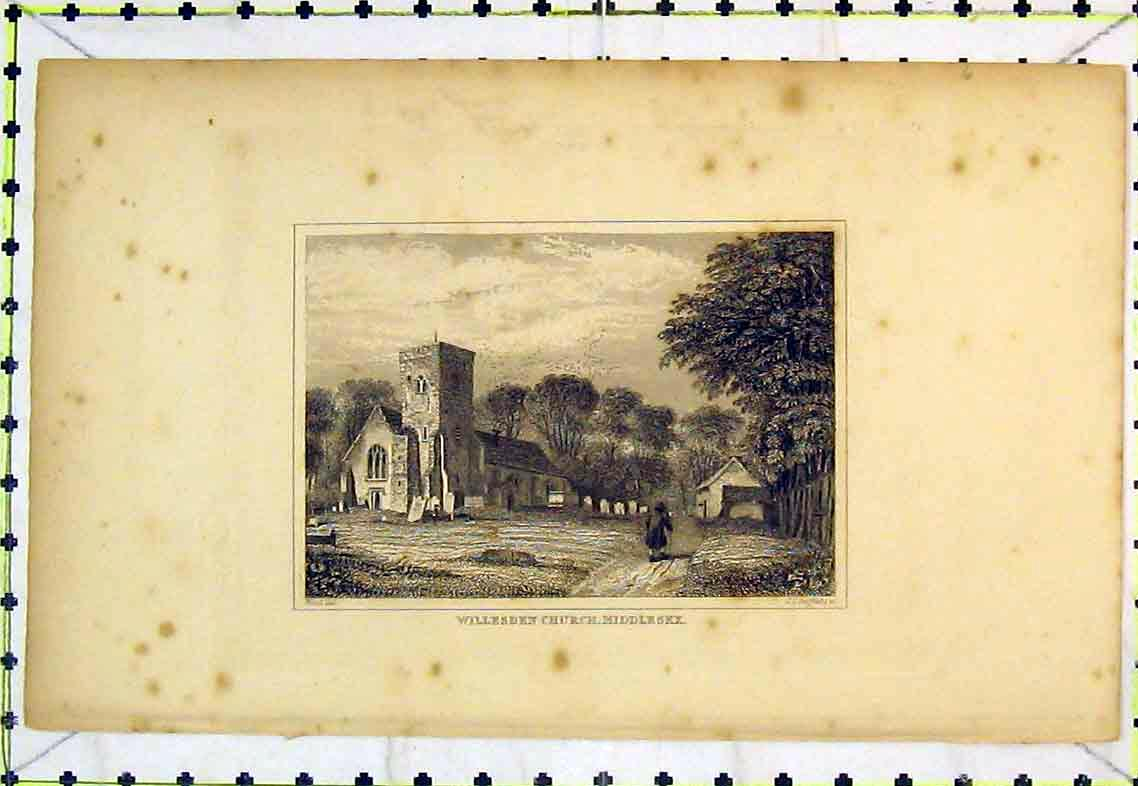 Print View Willesden Church Middlesex Country Gravestones 345B363 Old Original