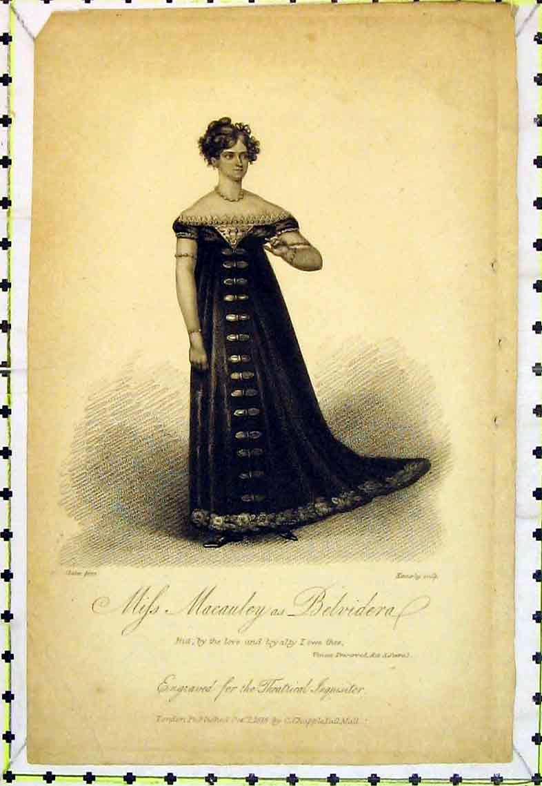 Print Portrait Beautiful Woman Miss Macauley Belvedera 349B363 Old Original
