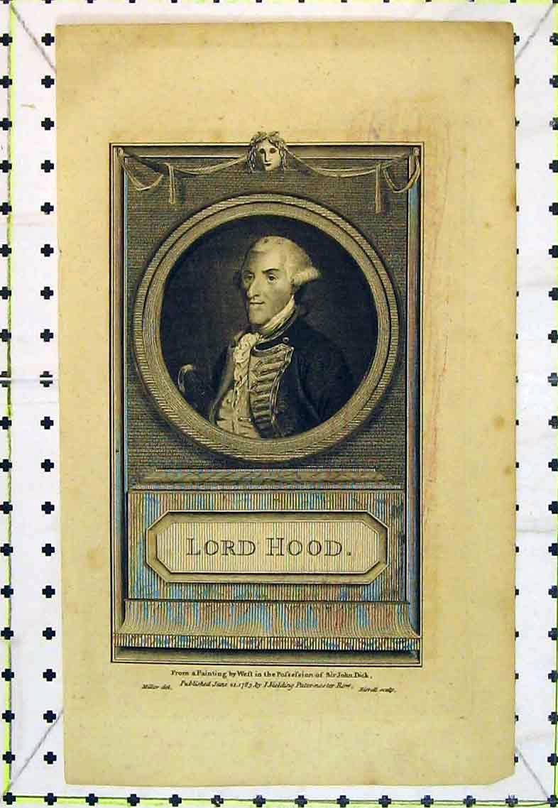Print 1785 Portrait Lord Hood John Dick Fielding 369B363 Old Original