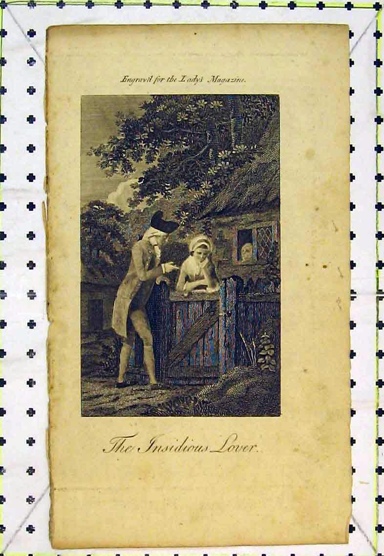 Print Insidious Lover Man Woman Romance Gate House Garden 379B363 Old Original