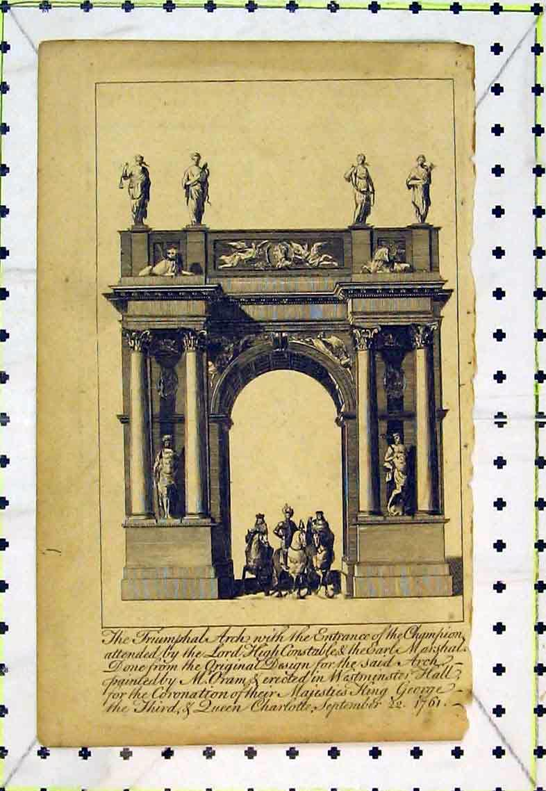 Print Triumphal Arch Champion Statue Horse Westminster Hall 389B363 Old Original