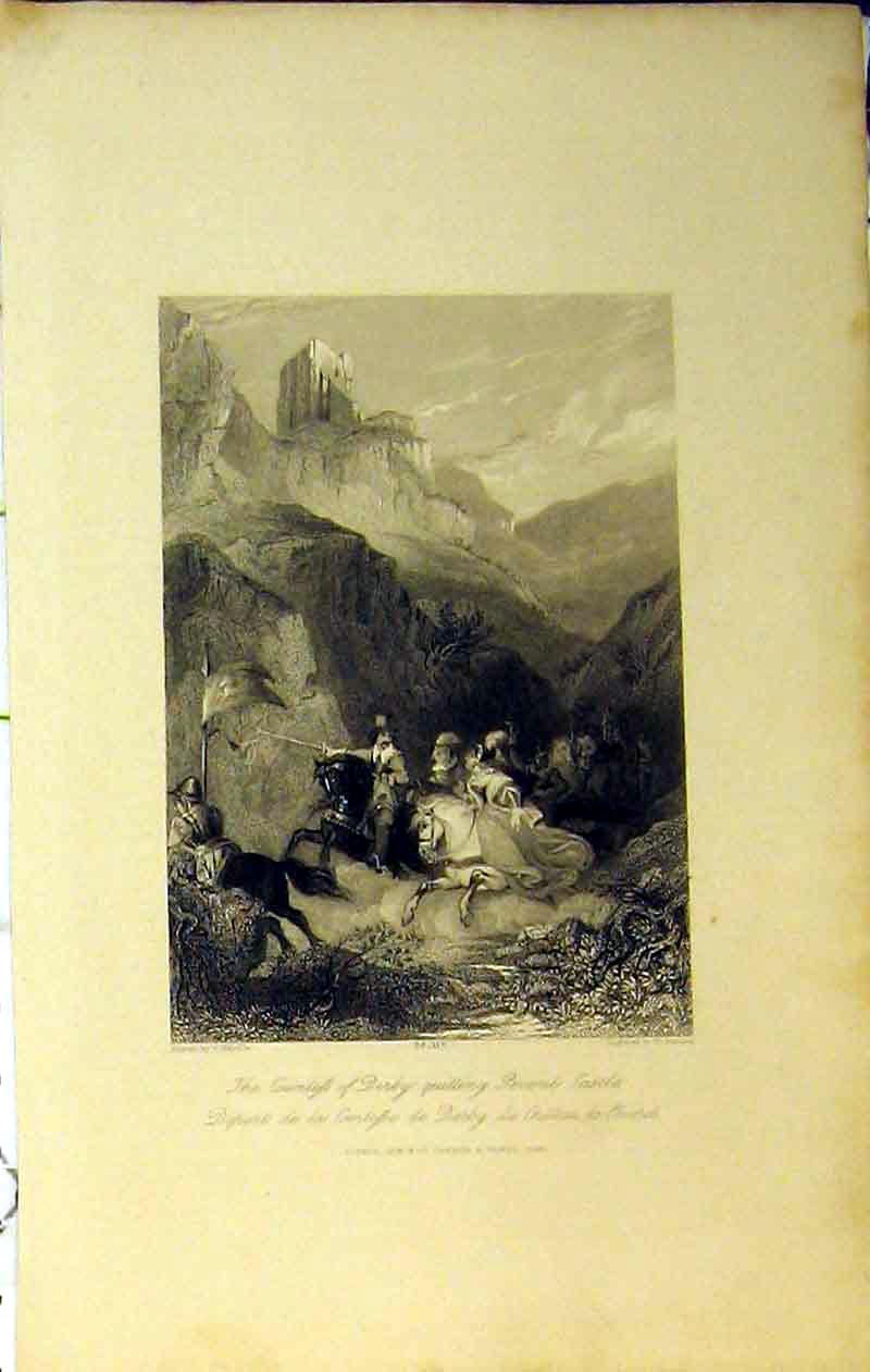 Print Countess Derby Peveril Castle France 1844 Mountains 201Ab364 Old Original