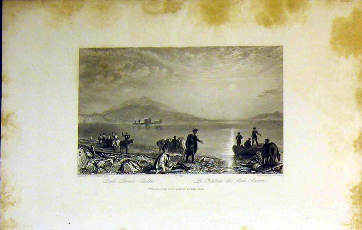Print 1844 Loch Leven Castle Mountains Lake Horses Men 209B364 Old Original