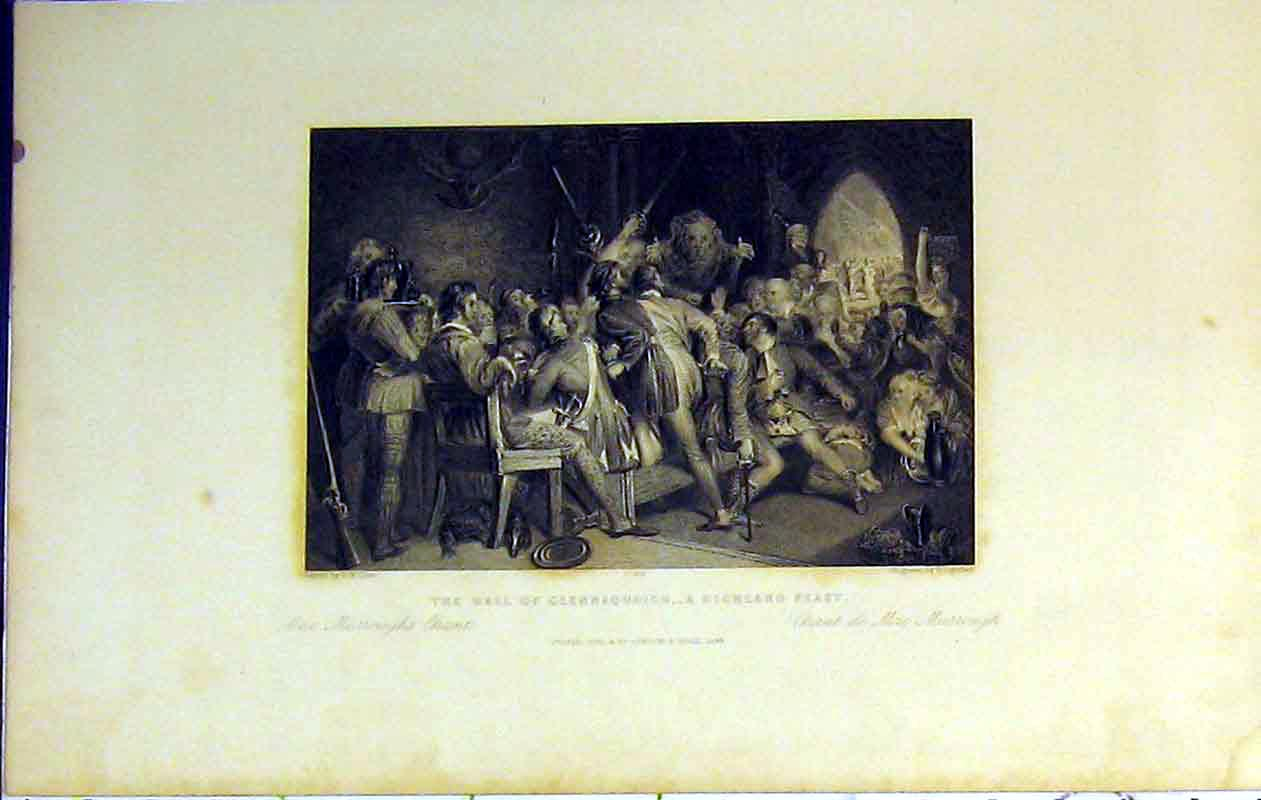 Print 1842 Hall Glennaquoich Highland Feast Murrough'S Chant 211B364 Old Original