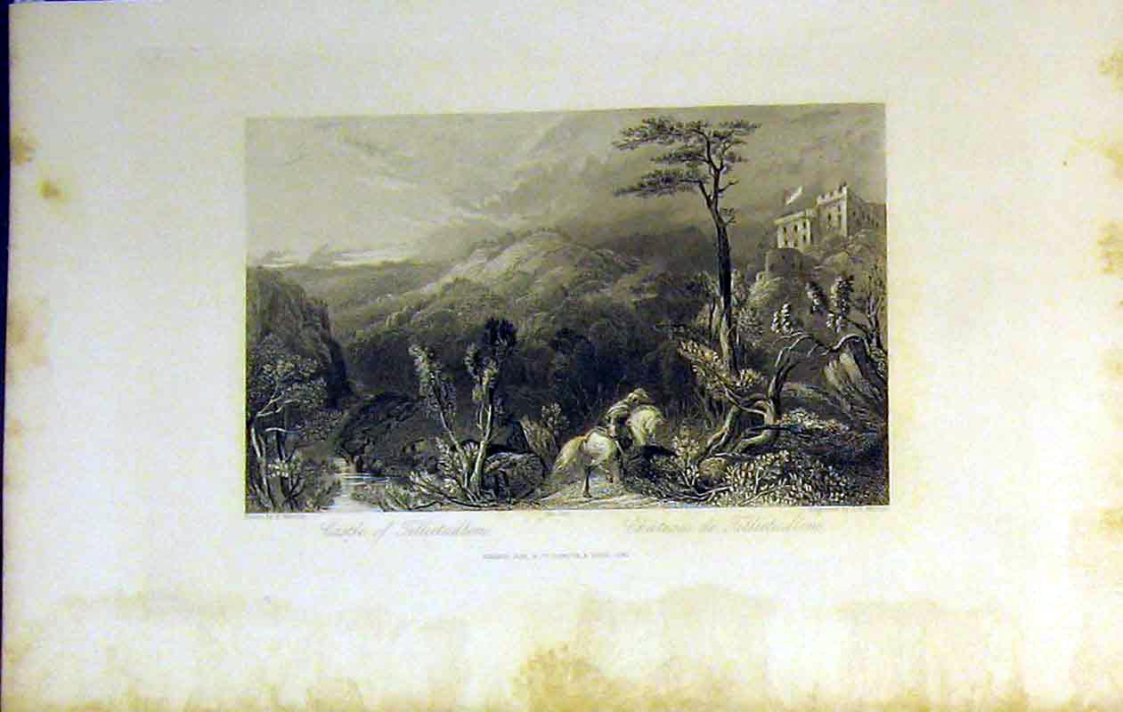 Print 1842 View Castle Tillietudlem Mountains Trees Country 213B364 Old Original