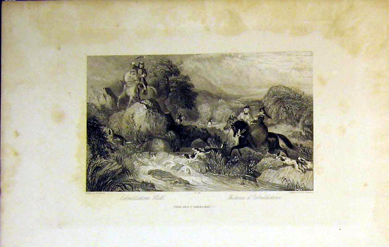 Print View Osbaldistone Hall River Horse Hounds Mountains 216B364 Old Original