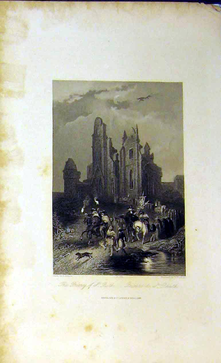 Print 1842 View Priory St Ruth Ruins Church Horses Men Dogs 217B364 Old Original