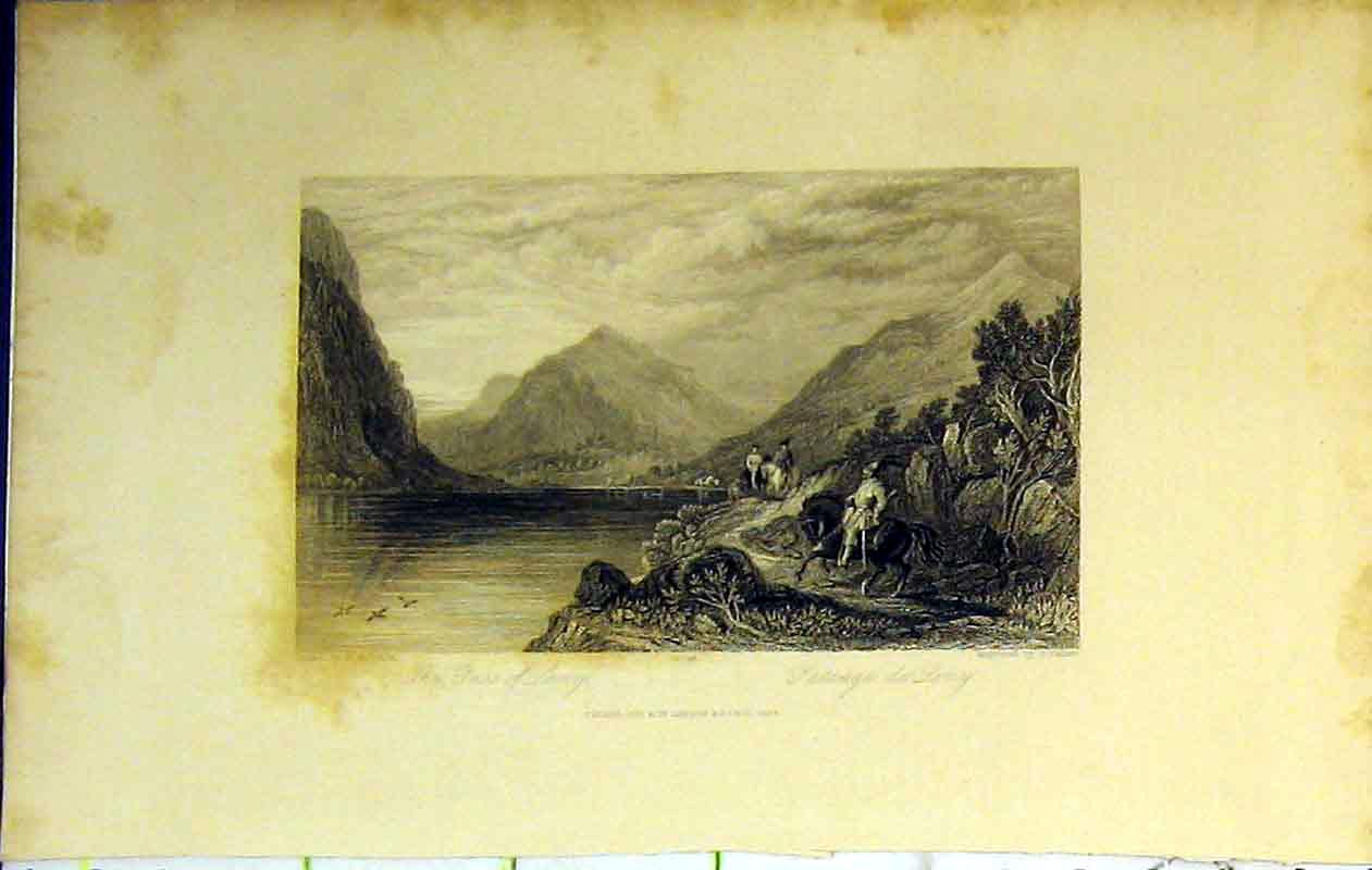 Print Pass Leny 1843 Mountains Loch Horse Trees Clouds 219B364 Old Original