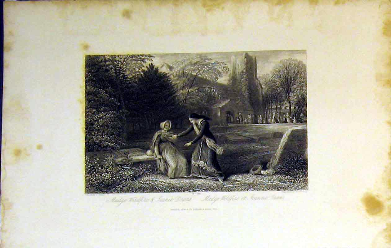 Print 1843 Scene Madge Wildfire Jeanie Dreams Church Garden 222B364 Old Original