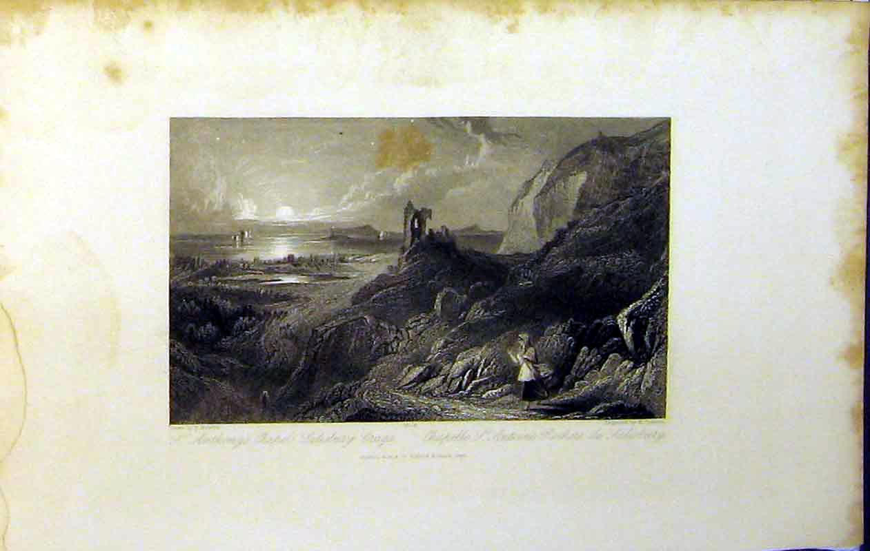 Print 1843 View St Anthony'S Chapel Salisbury Crags Ruins Sea 223B364 Old Original