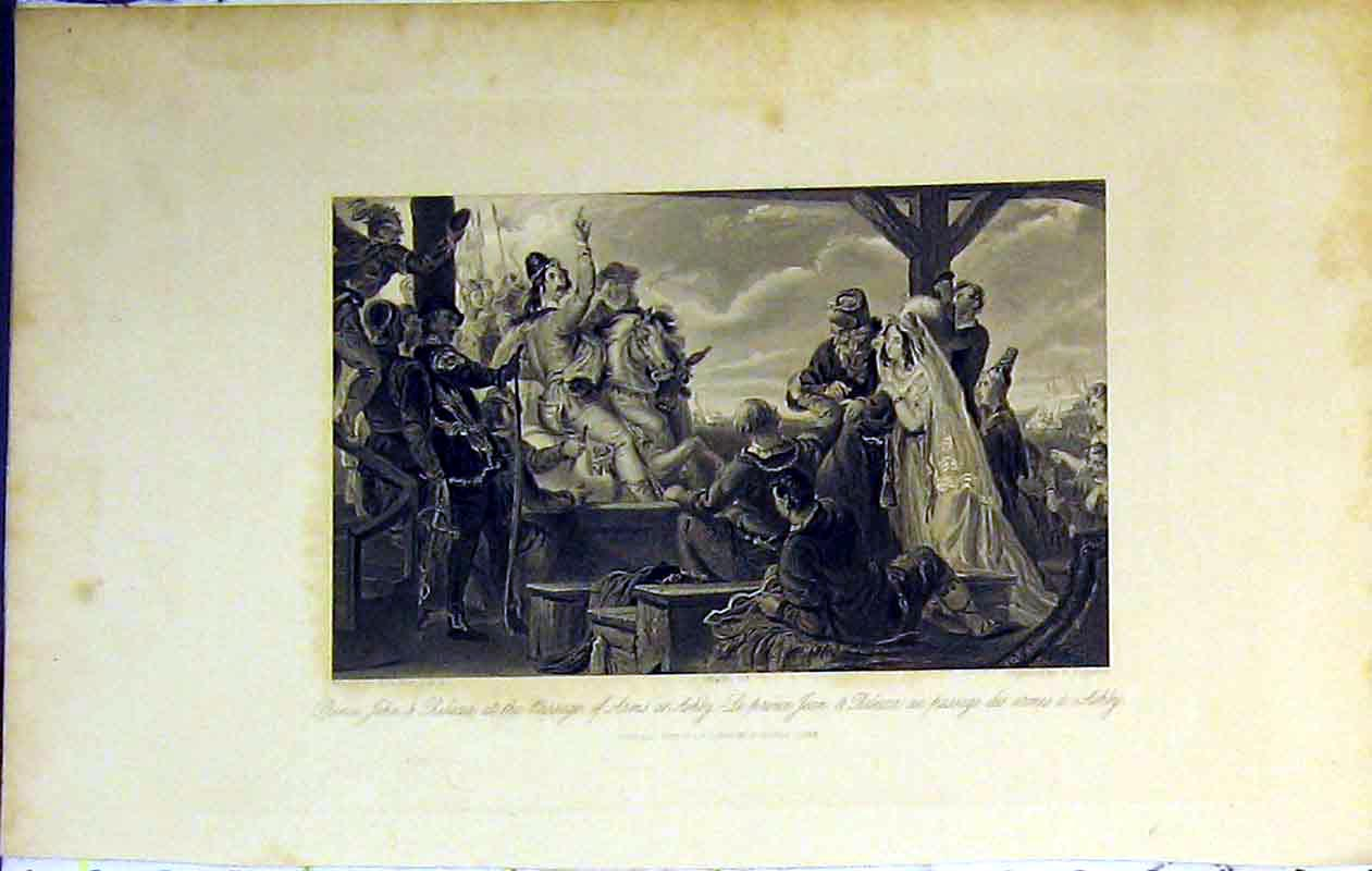 Print Scene Prince John Rebecca Passage Arms Ashby 1843 War 226B364 Old Original