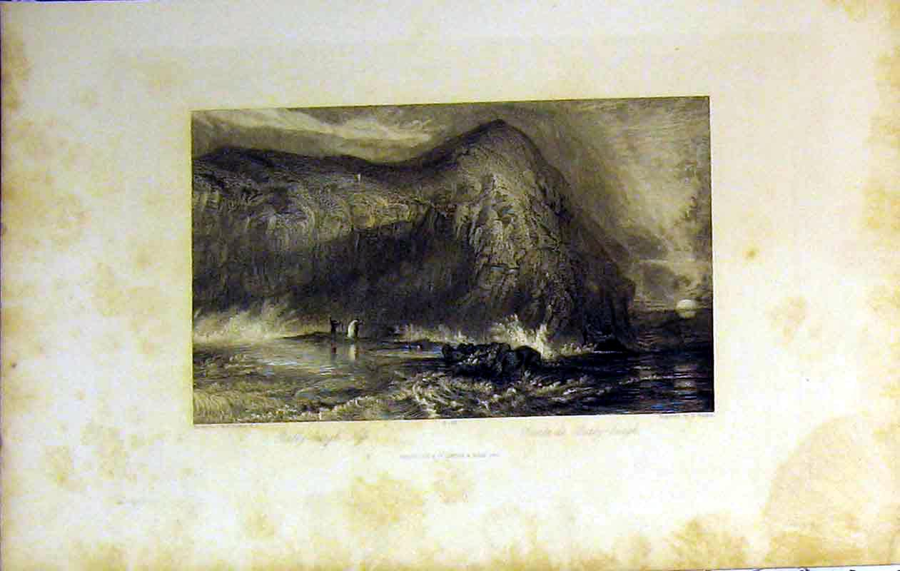 Print 1842 View Bally-Burgh Ness Cliff Stormy Sea Moonlight 231B364 Old Original