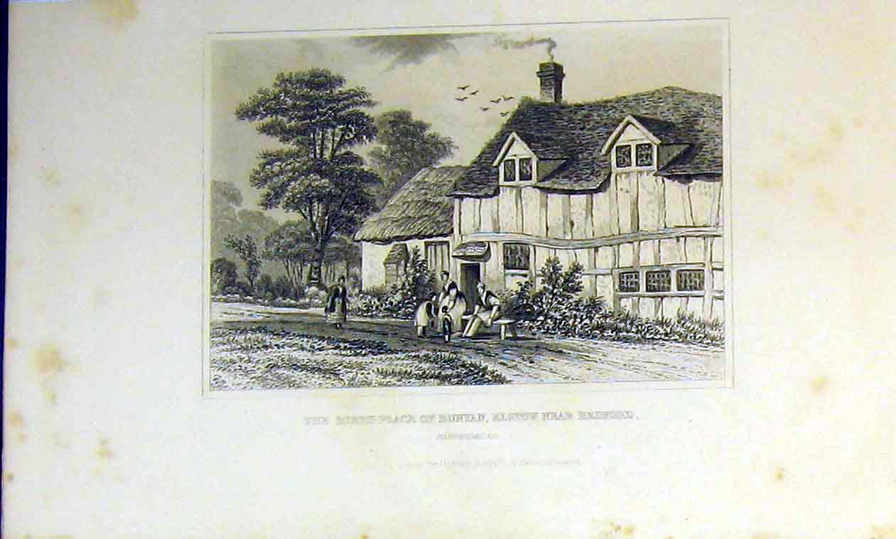 Print View Birth Place Bunyan Elstov Bedford Bedfordshire 235B364 Old Original