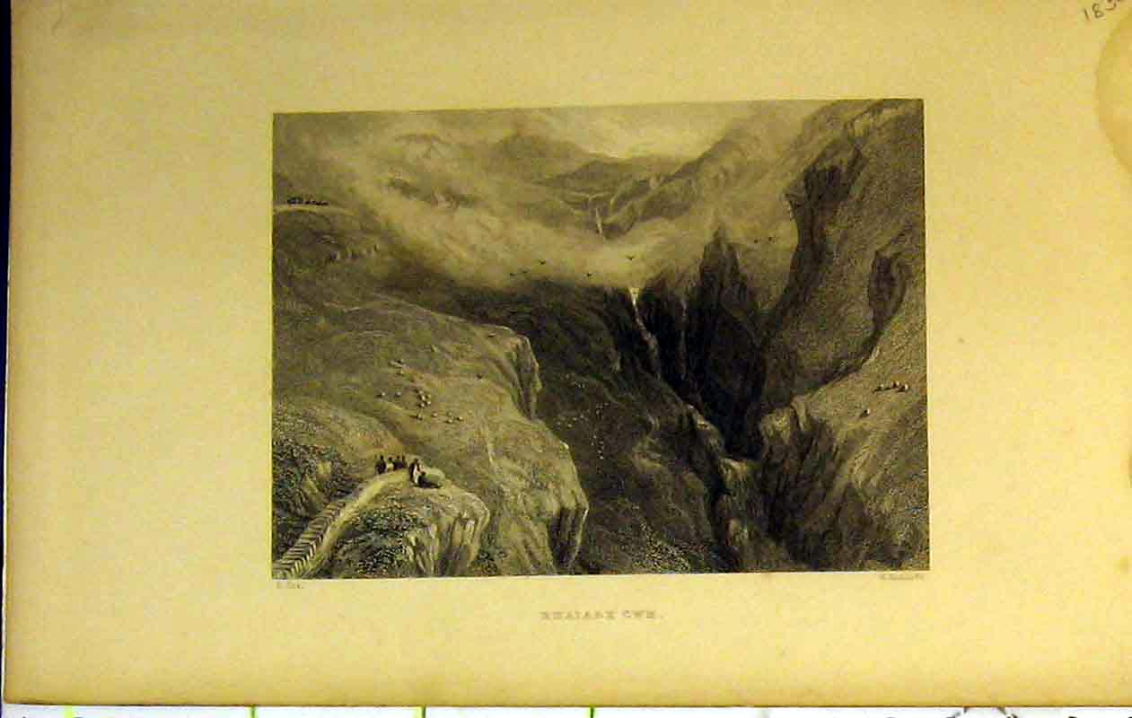 Print View Rhaiadr Cwn Wales Mountains Scene Watefall People 236B364 Old Original