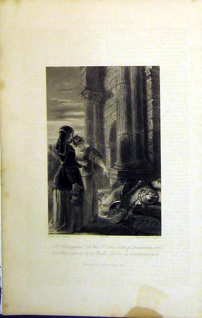 Print 1845 Scene Varangain Golden Gate Constantinople Dead 244B364 Old Original