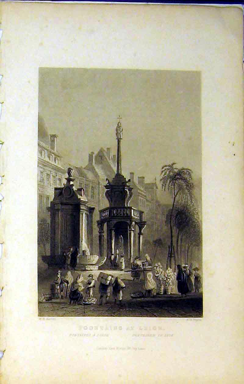 Print View Fountains Leige Street Trees Buildings Payne 247B364 Old Original