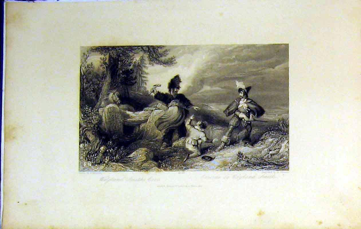 Print 1844 View Wayland Smith'S Cave Men Country Trees Staine 256B364 Old Original