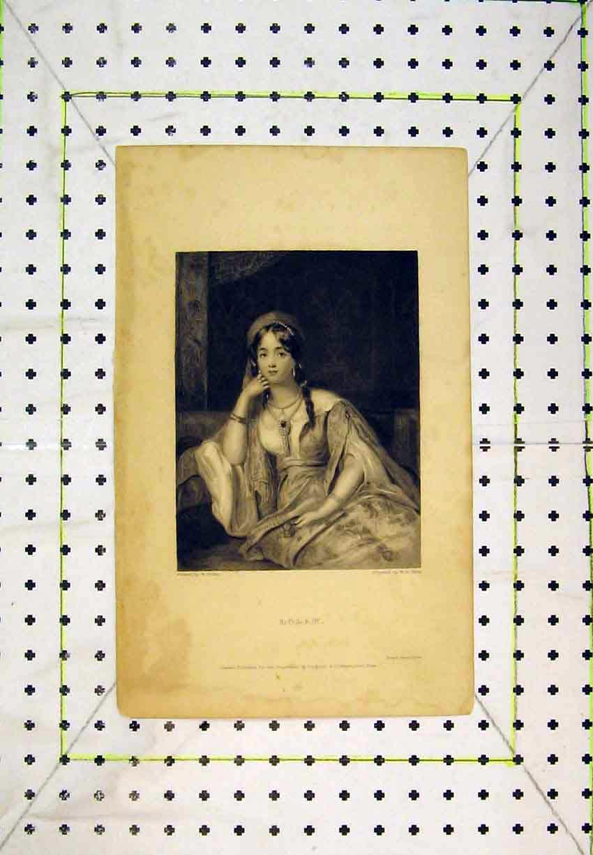 Print Portrait Lolah Beautiful Woman Boxall 207B365 Old Original