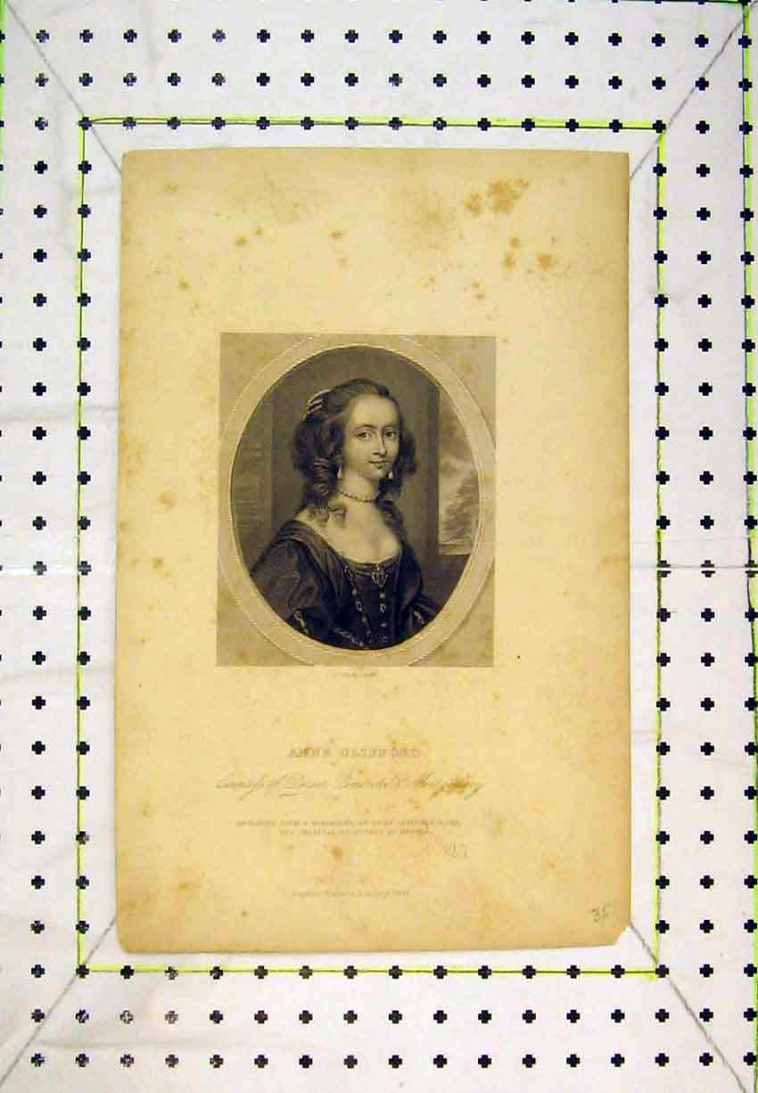 Print Portrait Anne Clifford Countess Dorset Woman 214B365 Old Original
