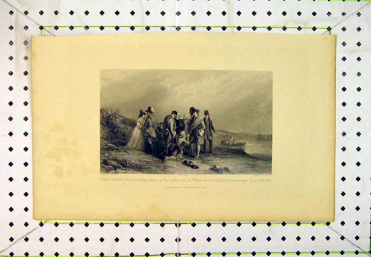 Print Prince Charles Edward Taking Leave Adherents Boat River 224B365 Old Original