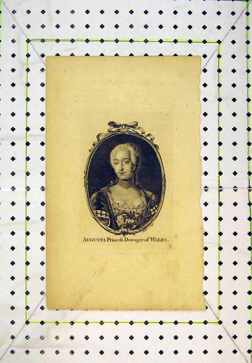 Print Portrait Augusta Princess Dowager Wales Miller 231B365 Old Original