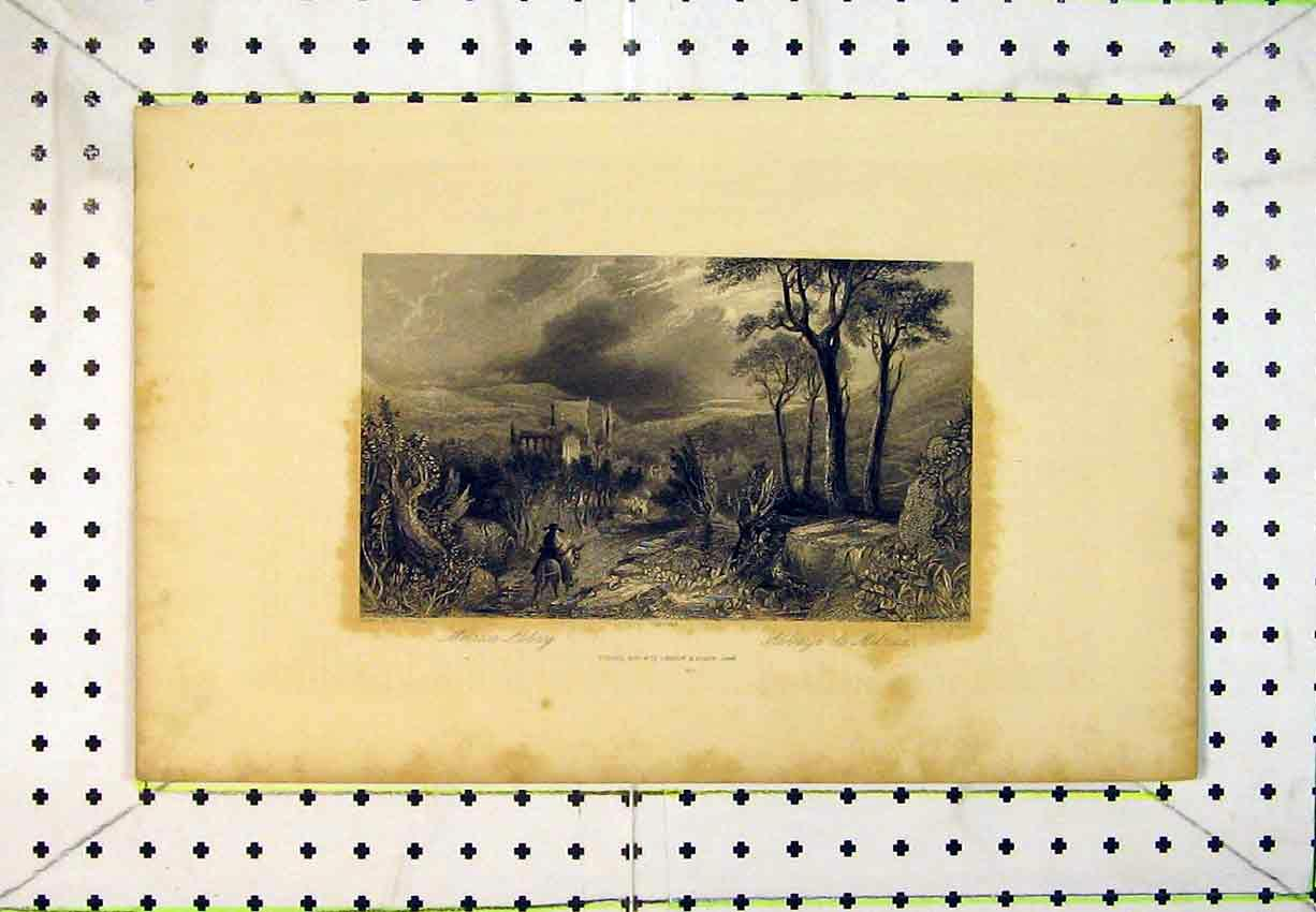 Print 1844 View Melrose Abbey Ruins Man Horse Trees Country 237B365 Old Original