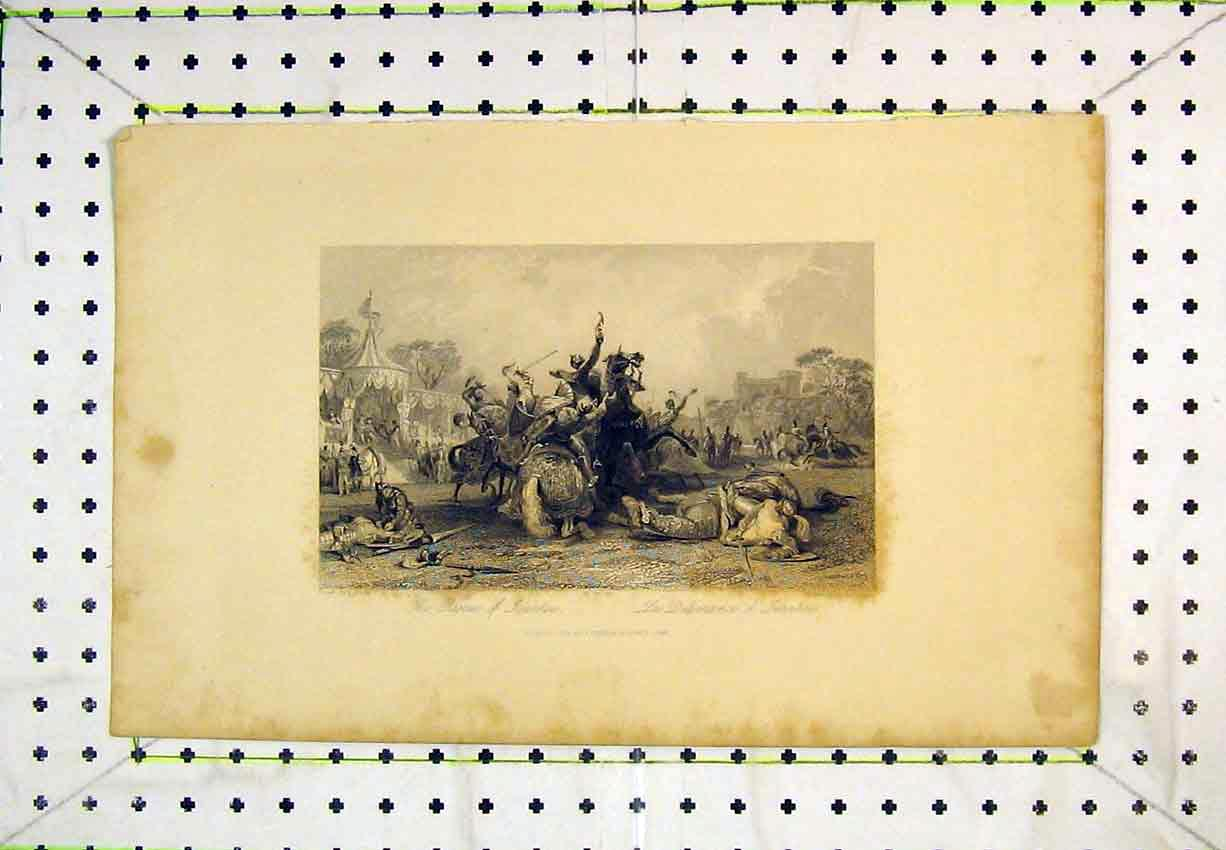Print 1843 Scene Rescue Ivanhoe Men Horses Battle 240B365 Old Original
