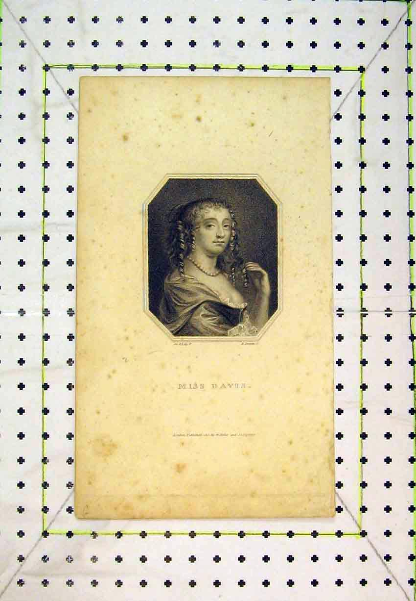 Print 1810 Portrait Miss Davis Beautiful Woman Lady 241B365 Old Original