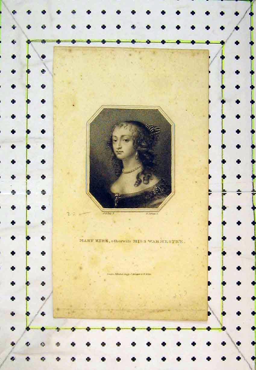Print 1810 Portrait Mary Kirk Miss Warmestre Lady 243B365 Old Original