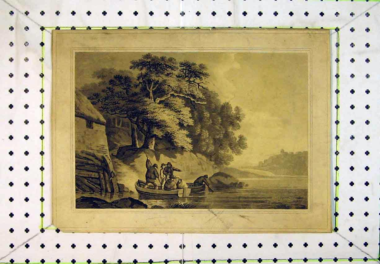 Print Country Scene River Boat Trees House Castle 248B365 Old Original