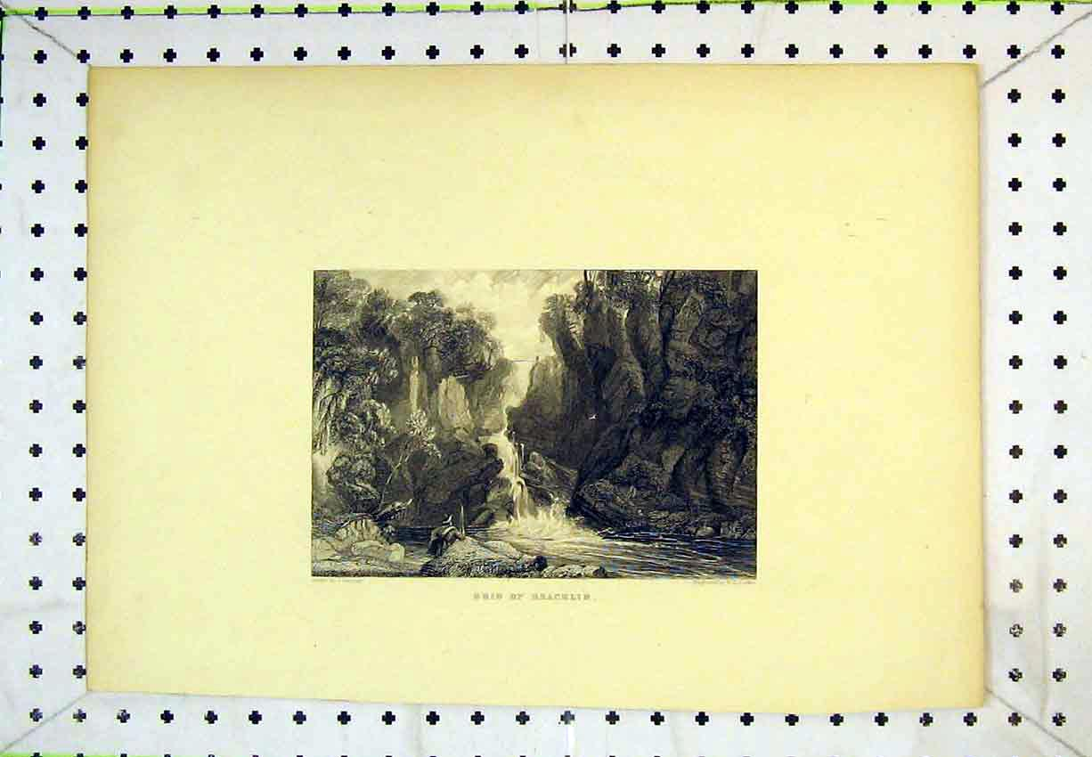 Print View Brig Bracklin Water Fall River Cliff 253B365 Old Original