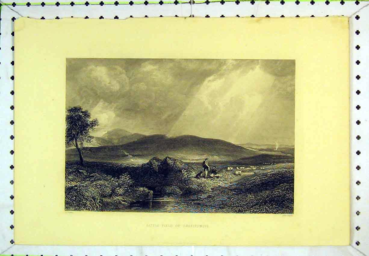 Print View Battle Field Sheriffmuir Country Scene Mountains 256B365 Old Original