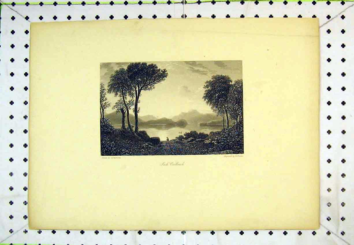 Print View Inch Cailleach River Mountains Trees Lake Scotland 259B365 Old Original