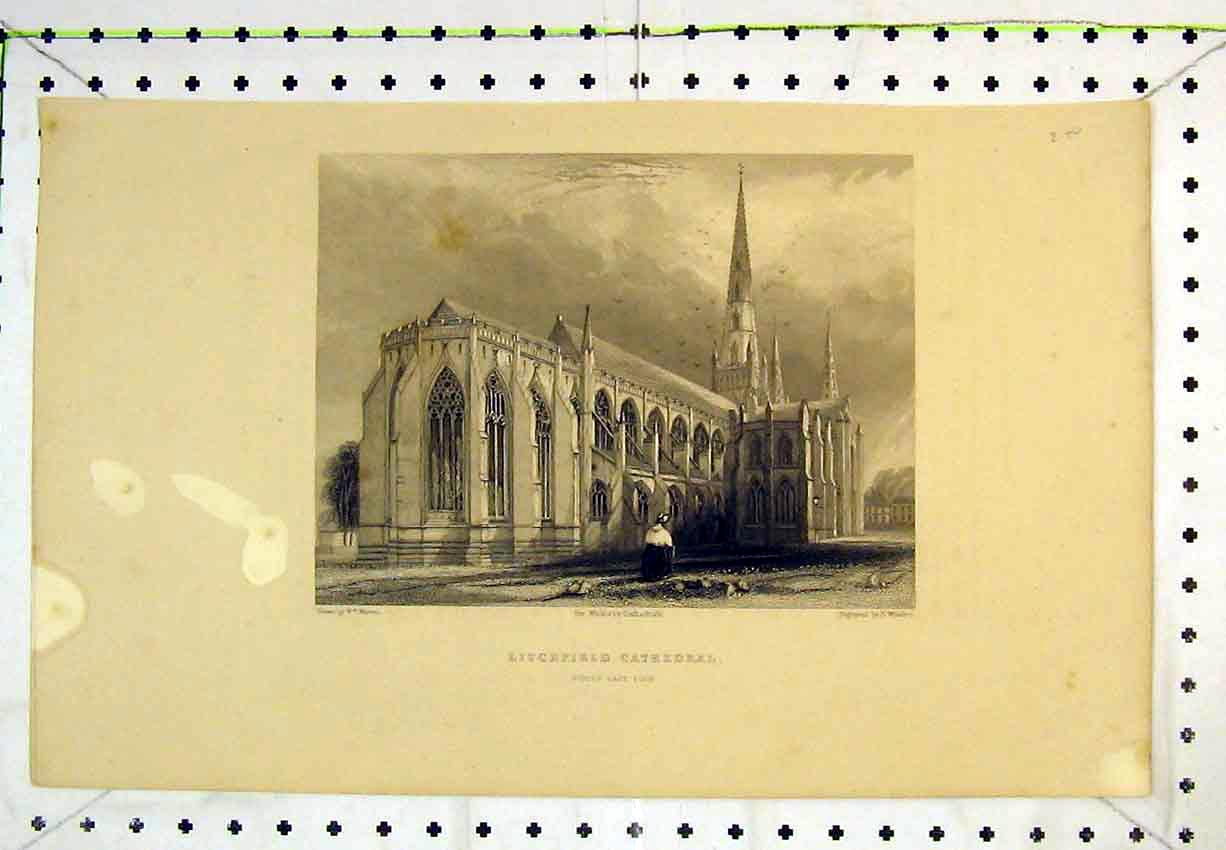 Print Winkles Cathedral Litchfield North East View Church 262B365 Old Original