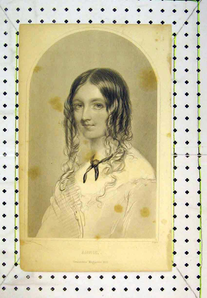 Print 1853 Portrait Annie Beautiful Woman Lady 269B365 Old Original