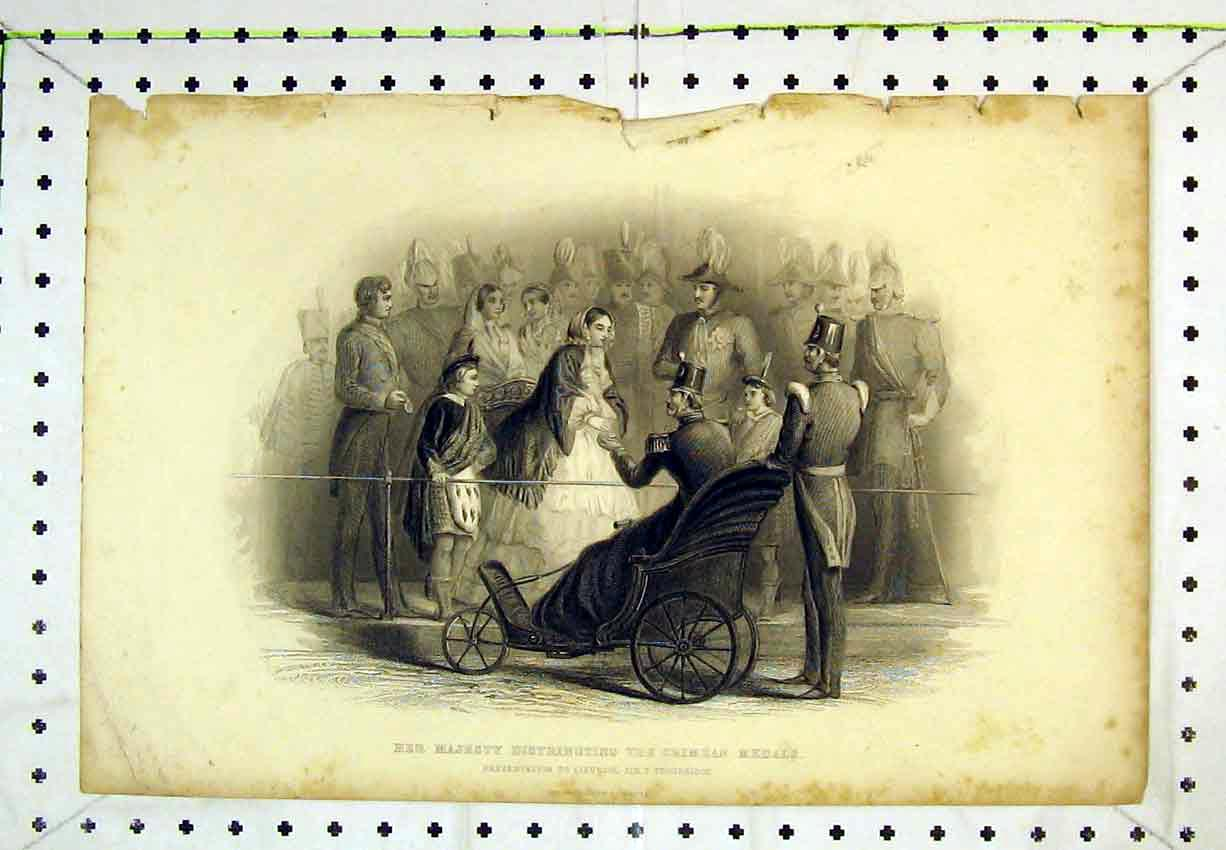 Print Scene Her Majesty Distributing Crimean Medals Queen 281B365 Old Original